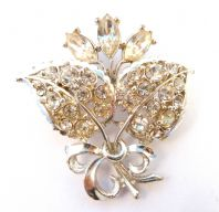 Vintage Rhinestone Set Flower And Leaf Brooch By Exquisite.